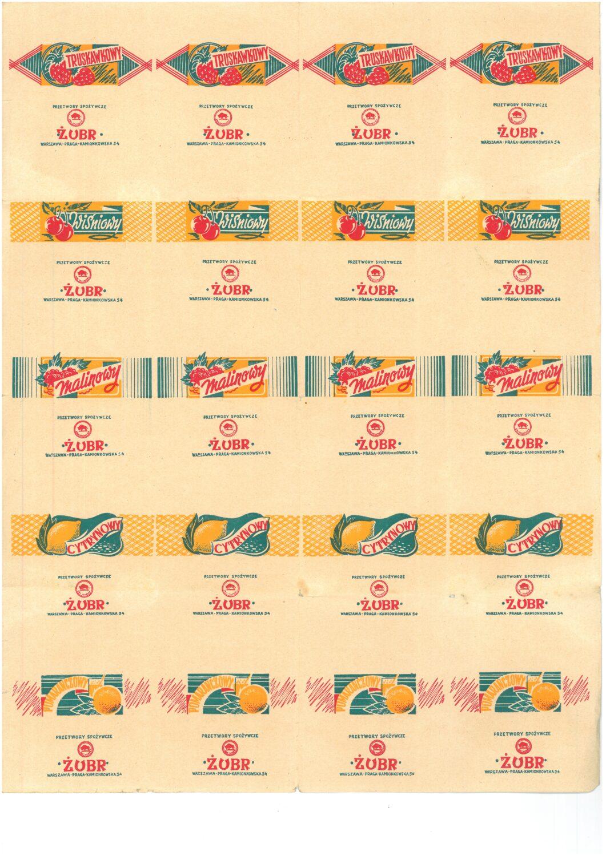 wydruk papierków po cukierkach, 5 rzędów po 4 papierki, każdy z nazwą przetwory spożywcze żubr warszawa praga kamionkowska, pierwszy rząd truskawkowy, kolejne wiśniowy, malinowy, cytrynowy, pomarańćzowy, każdy z ilustracją owoców